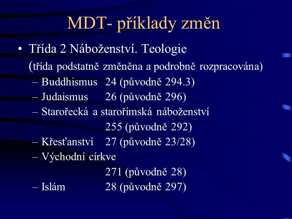 MDT- příklady změn Třída 2 Náboženství. Teologie