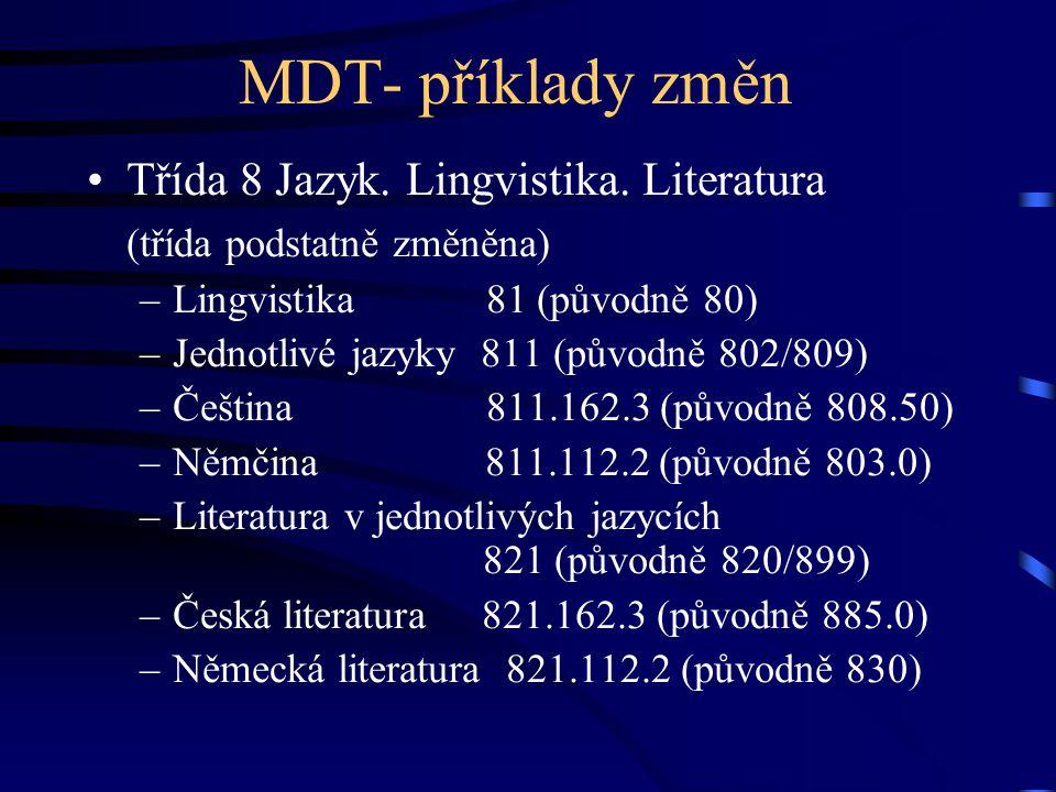 MDT- příklady změn Třída 8 Jazyk. Lingvistika. Literatura