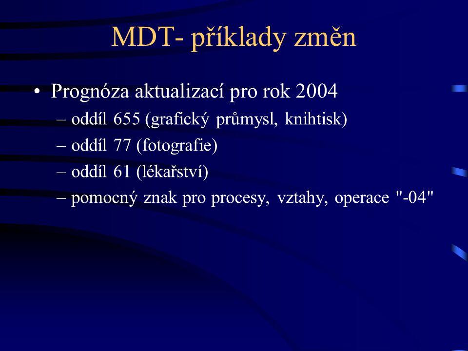 MDT- příklady změn Prognóza aktualizací pro rok 2004