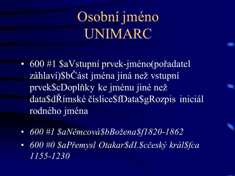 Osobní jméno UNIMARC