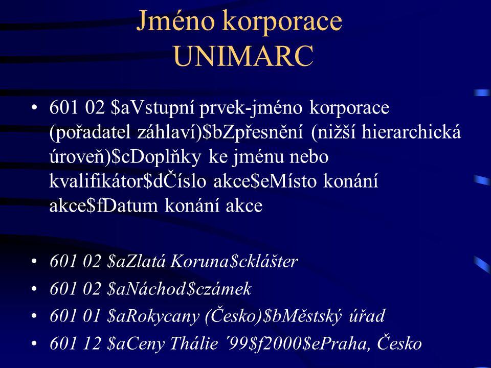 Jméno korporace UNIMARC