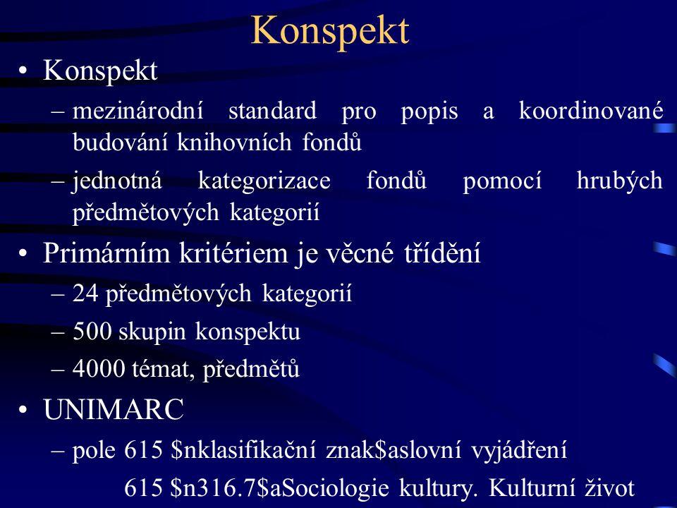 Konspekt Konspekt Primárním kritériem je věcné třídění UNIMARC