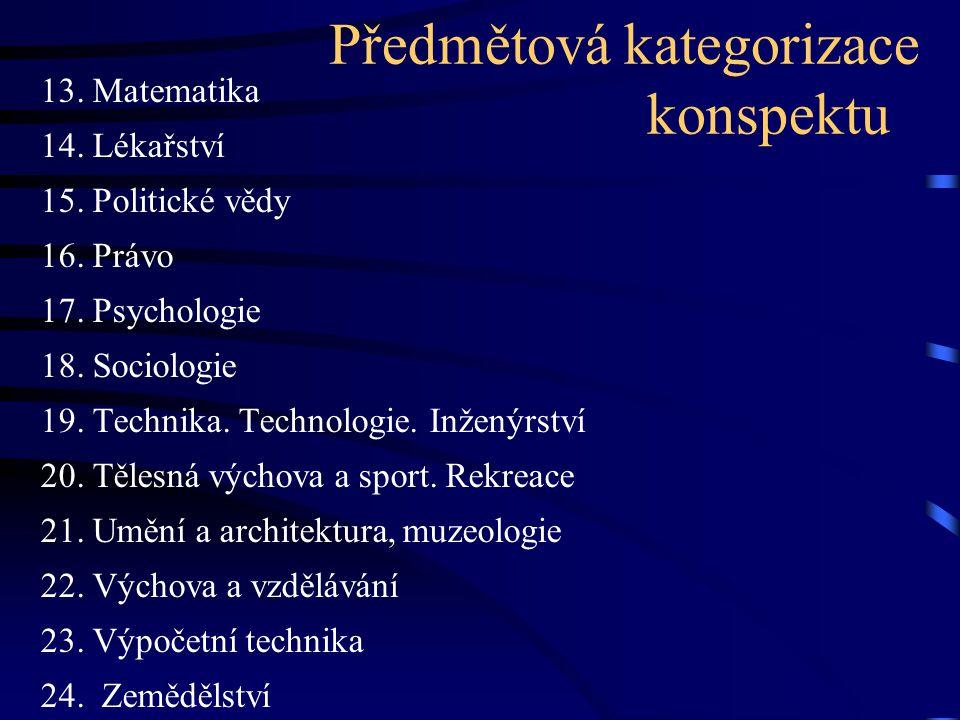 Předmětová kategorizace konspektu