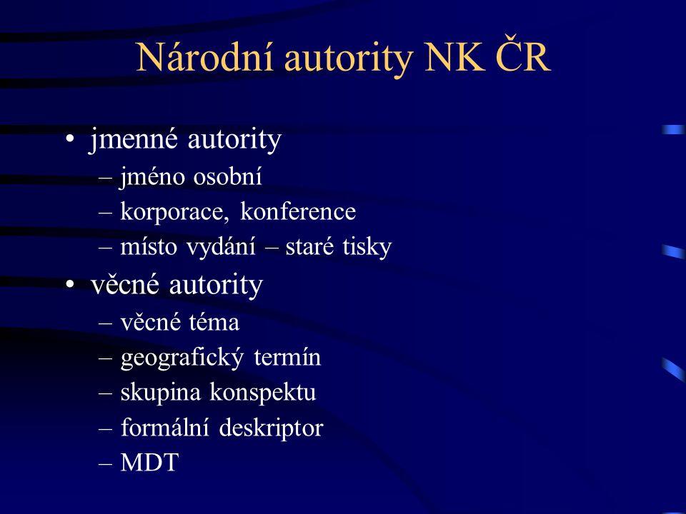 Národní autority NK ČR jmenné autority věcné autority jméno osobní