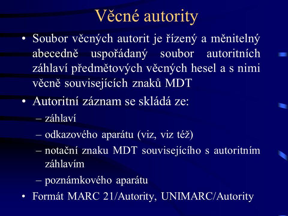 Věcné autority Autoritní záznam se skládá ze: