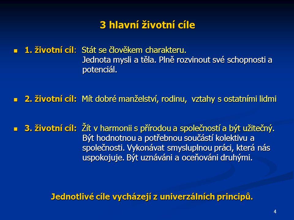 Jednotlivé cíle vycházejí z univerzálních principů.