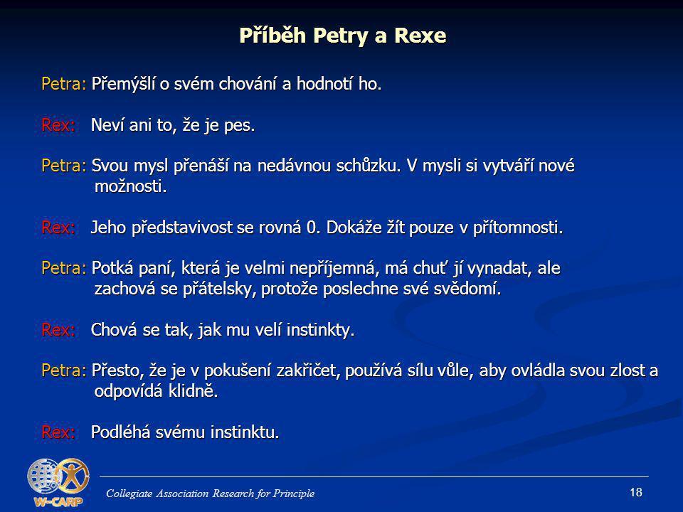 Příběh Petry a Rexe Petra: Přemýšlí o svém chování a hodnotí ho.