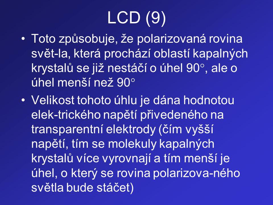 LCD (9) Toto způsobuje, že polarizovaná rovina svět-la, která prochází oblastí kapalných krystalů se již nestáčí o úhel 90, ale o úhel menší než 90