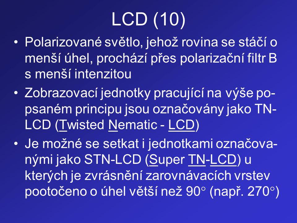 LCD (10) Polarizované světlo, jehož rovina se stáčí o menší úhel, prochází přes polarizační filtr B s menší intenzitou.