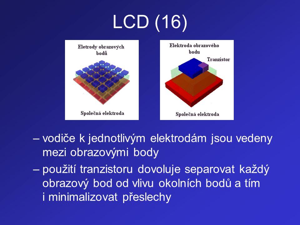 LCD (16) vodiče k jednotlivým elektrodám jsou vedeny mezi obrazovými body.