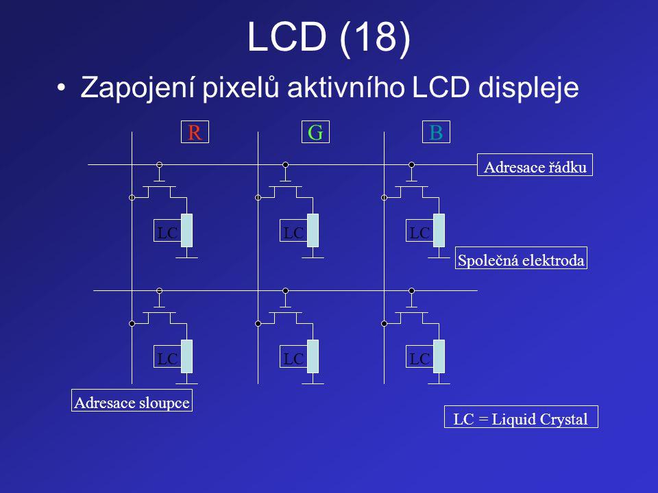 LCD (18) Zapojení pixelů aktivního LCD displeje R G B Adresace řádku