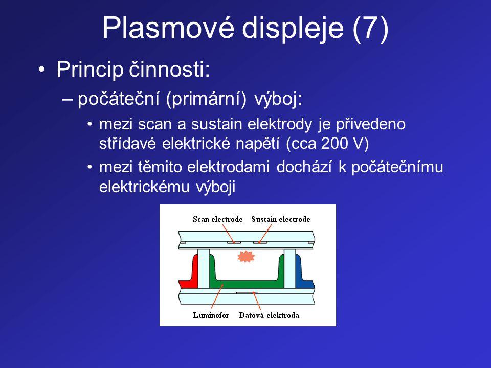 Plasmové displeje (7) Princip činnosti: počáteční (primární) výboj:
