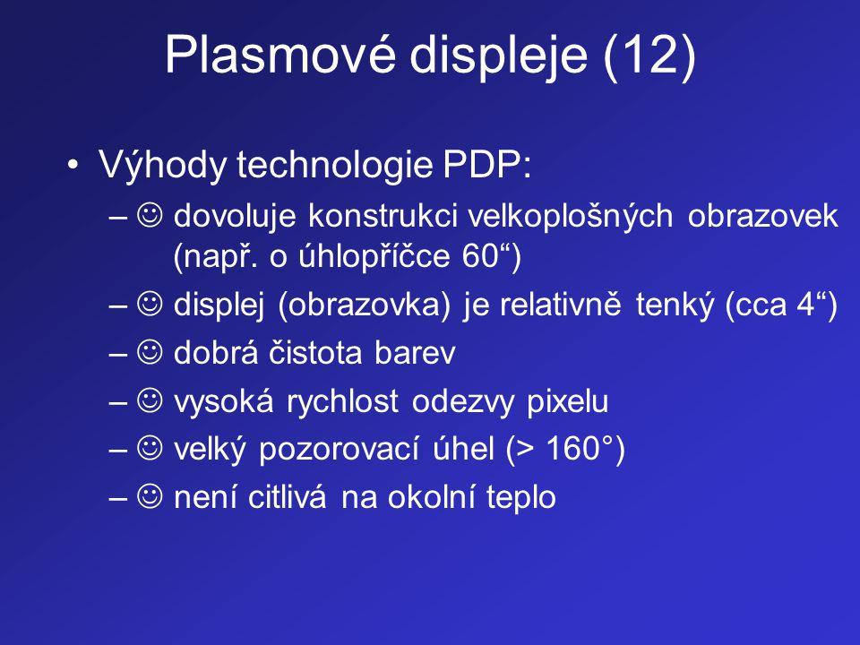 Plasmové displeje (12) Výhody technologie PDP: