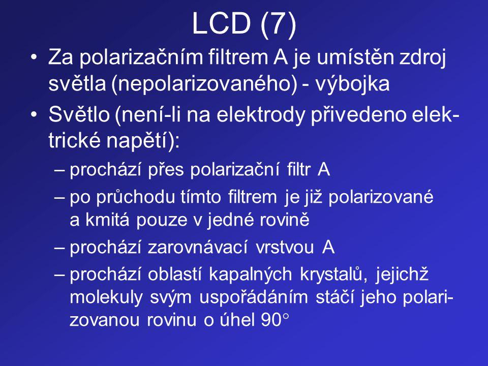 LCD (7) Za polarizačním filtrem A je umístěn zdroj světla (nepolarizovaného) - výbojka. Světlo (není-li na elektrody přivedeno elek-trické napětí):
