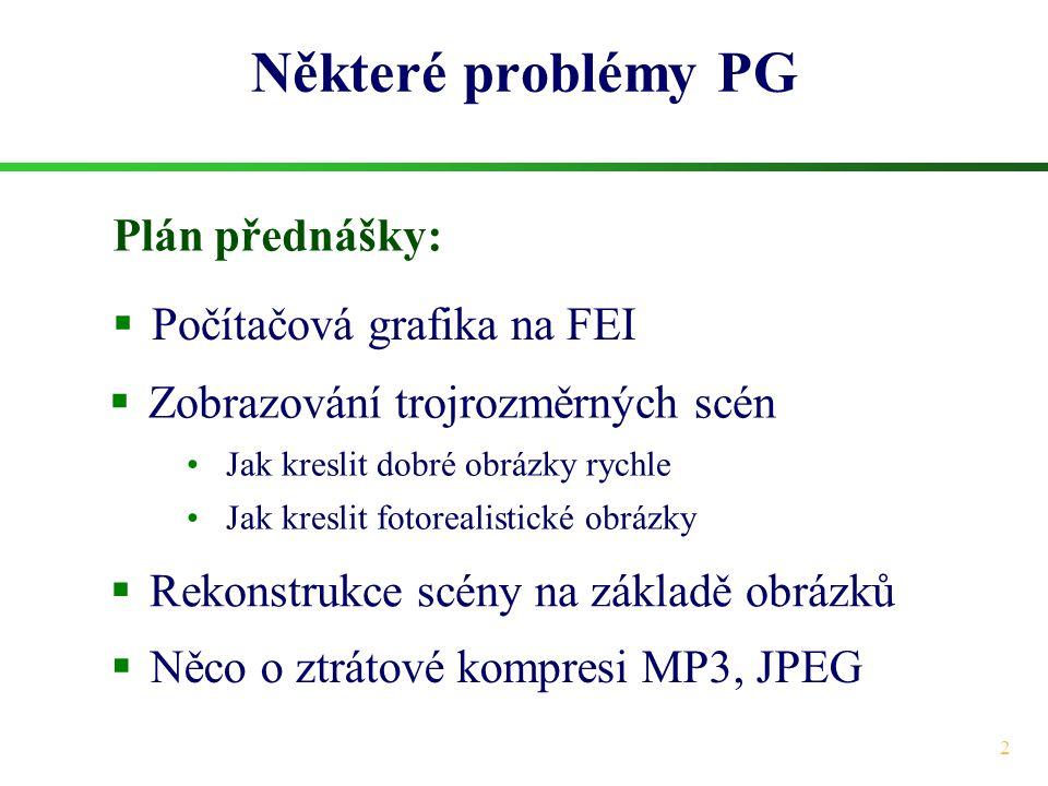 Některé problémy PG Plán přednášky: Počítačová grafika na FEI
