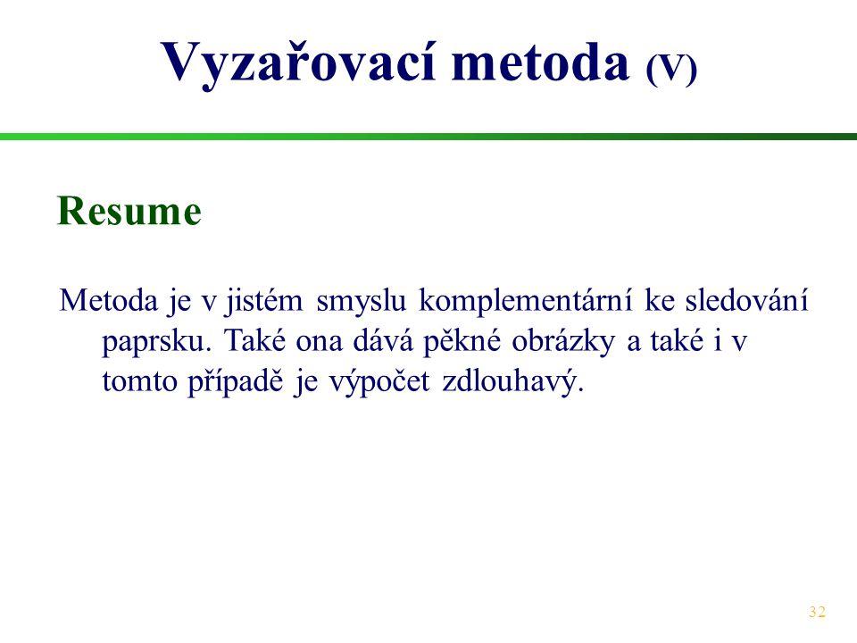 Vyzařovací metoda (V) Resume