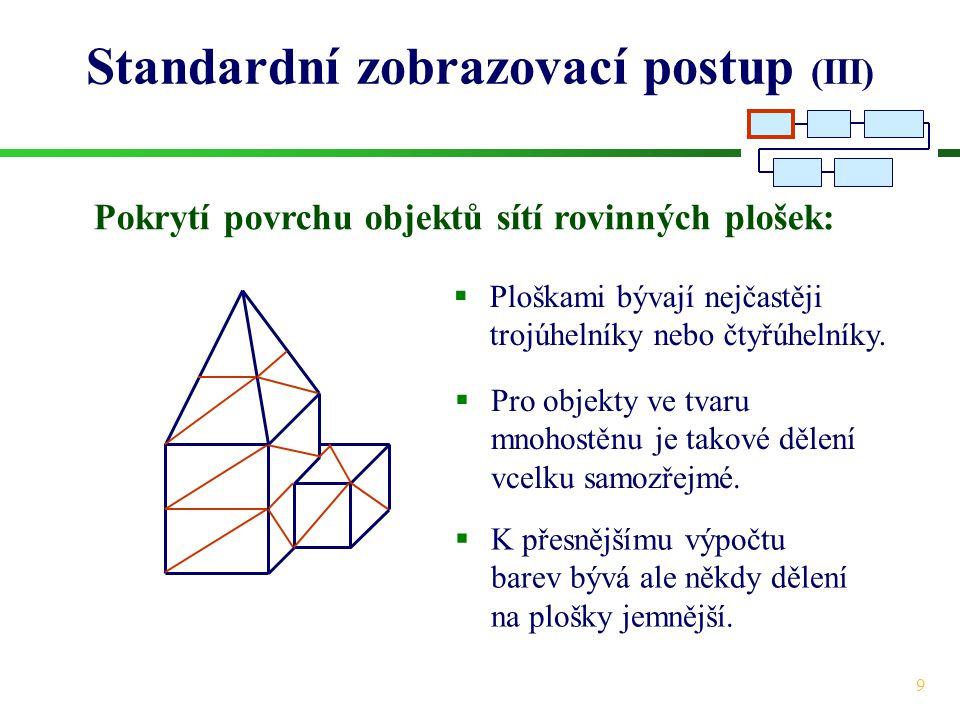 Standardní zobrazovací postup (III)