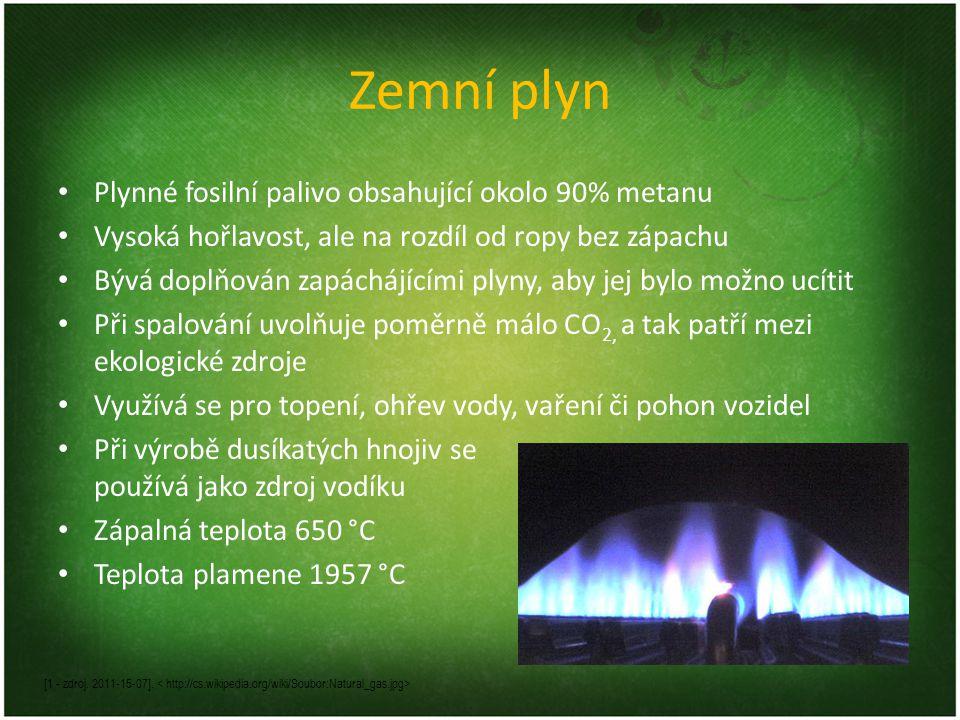 Zemní plyn Plynné fosilní palivo obsahující okolo 90% metanu