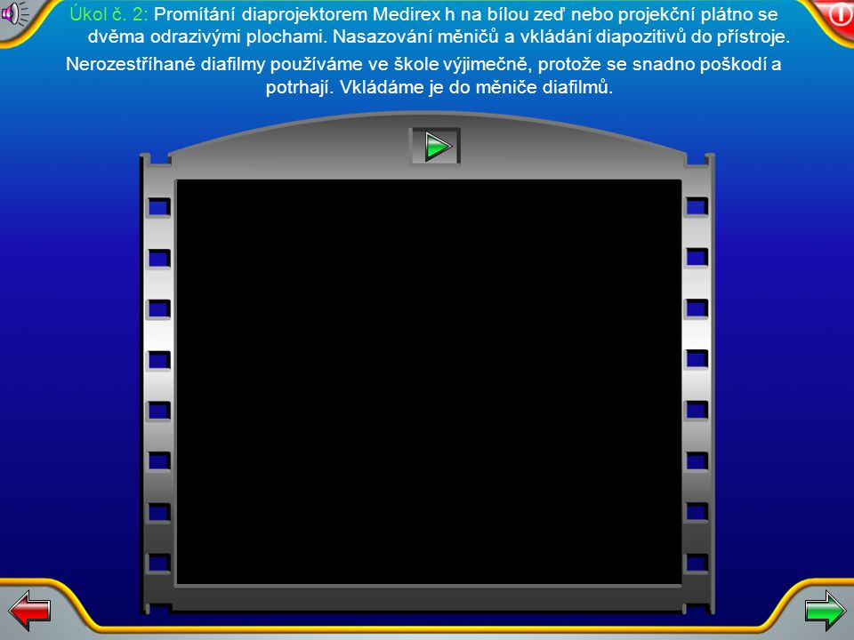 Manipulace s diaprojektorem Medirex h