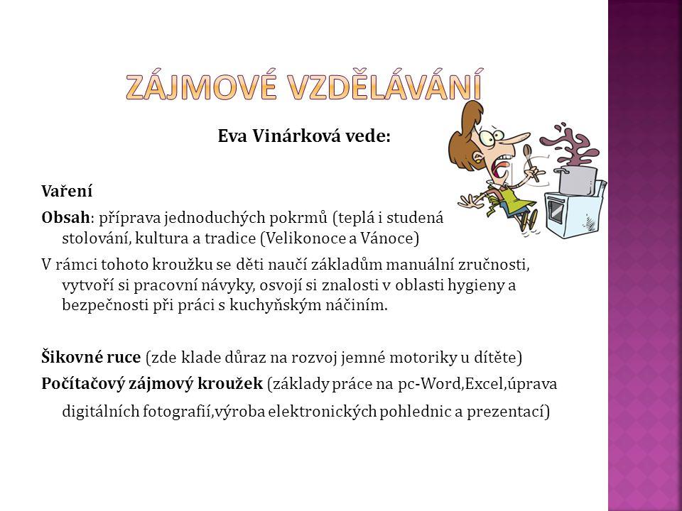 Zájmové vzdělávání Eva Vinárková vede: Vaření