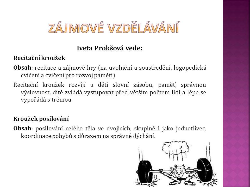 Zájmové vzdělávání Iveta Prokšová vede: Recitační kroužek