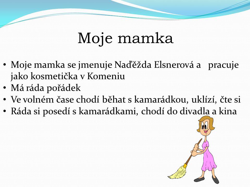 Moje mamka Moje mamka se jmenuje Naďěžda Elsnerová a pracuje jako kosmetička v Komeniu. Má ráda pořádek.