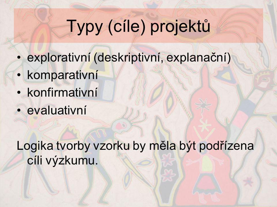 Typy (cíle) projektů explorativní (deskriptivní, explanační)