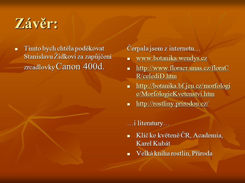Závěr: Tímto bych chtěla poděkovat Stanislavu Židkovi za zapůjčení zrcadlovky Canon 400d. Čerpala jsem z internetu…