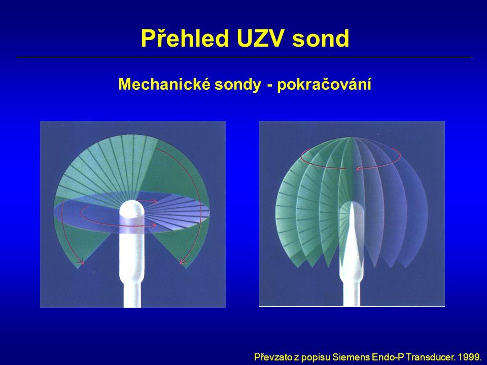 Přehled UZV sond Mechanické sondy - pokračování