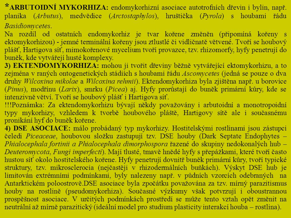 *ARBUTOIDNÍ MYKORHIZA: endomykorhizní asociace autotrofních dřevin i bylin, např. planika (Arbutus), medvědice (Arctostaphylos), hruštička (Pyrola) s houbami řádu Basidiomycetes.