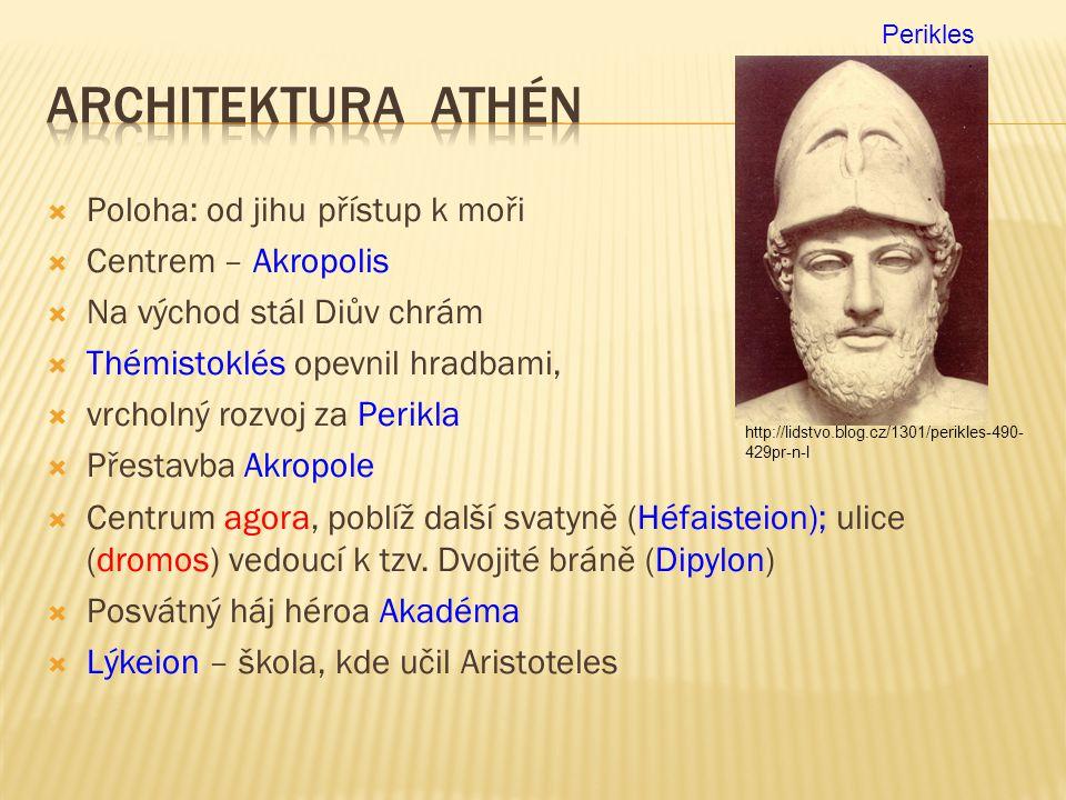 Architektura Athén Poloha: od jihu přístup k moři Centrem – Akropolis