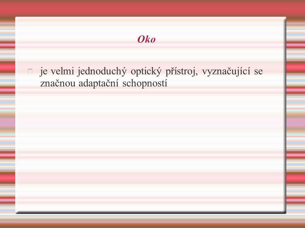 Oko je velmi jednoduchý optický přístroj, vyznačující se značnou adaptační schopností