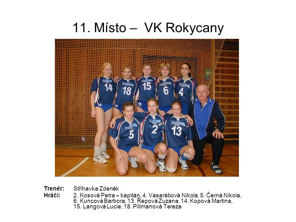 11. Místo – VK Rokycany Trenér: Střihavka Zdeněk
