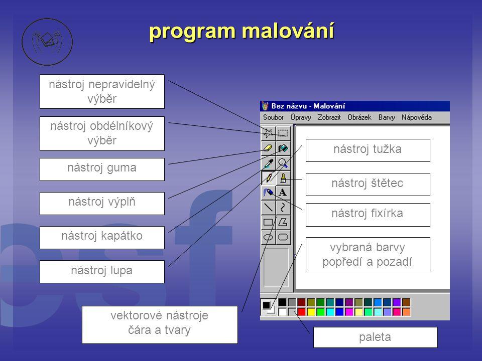program malování nástroj nepravidelný výběr nástroj obdélníkový výběr