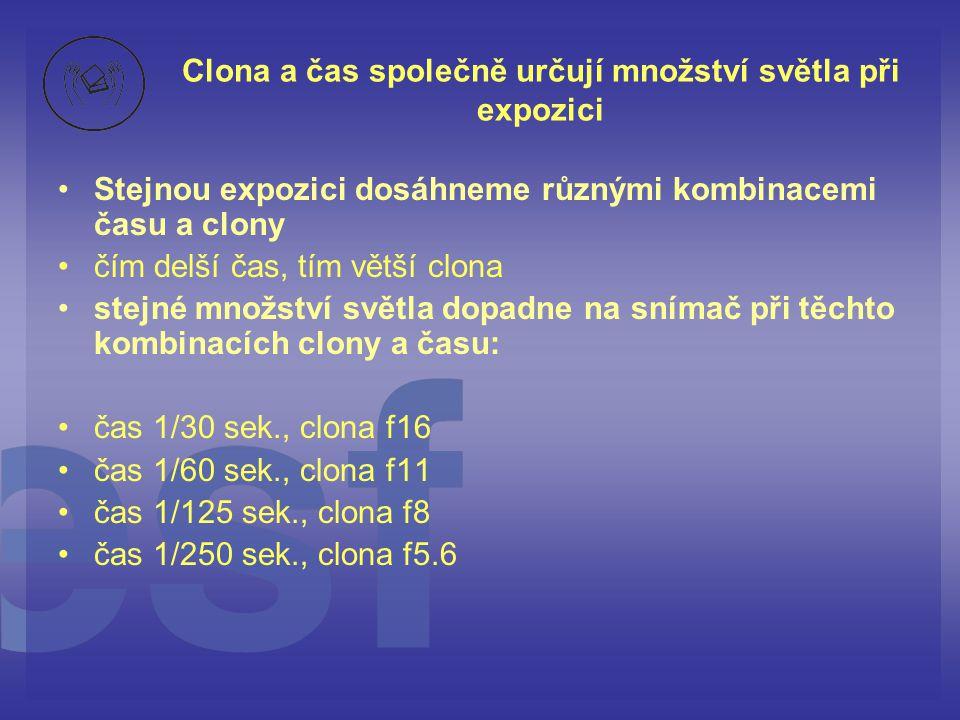Clona a čas společně určují množství světla při expozici