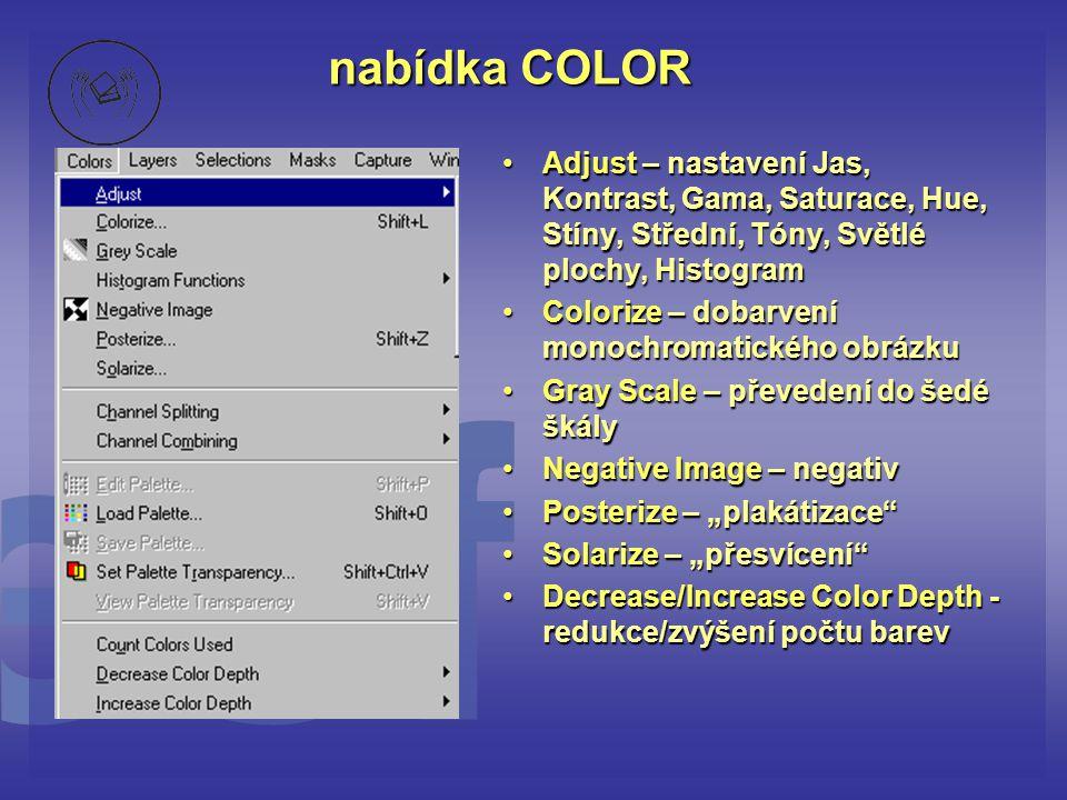 nabídka COLOR Adjust – nastavení Jas, Kontrast, Gama, Saturace, Hue, Stíny, Střední, Tóny, Světlé plochy, Histogram.