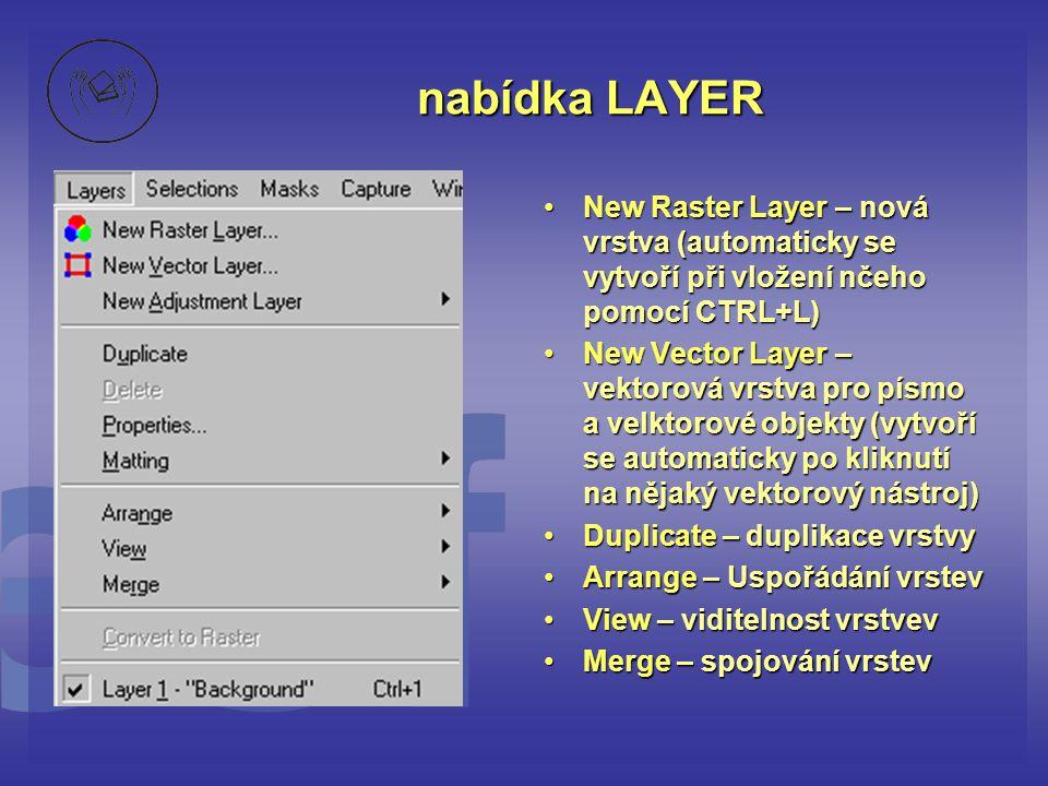 nabídka LAYER New Raster Layer – nová vrstva (automaticky se vytvoří při vložení nčeho pomocí CTRL+L)