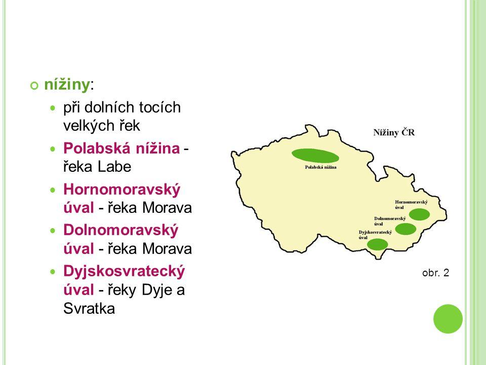nížiny: při dolních tocích velkých řek Polabská nížina - řeka Labe