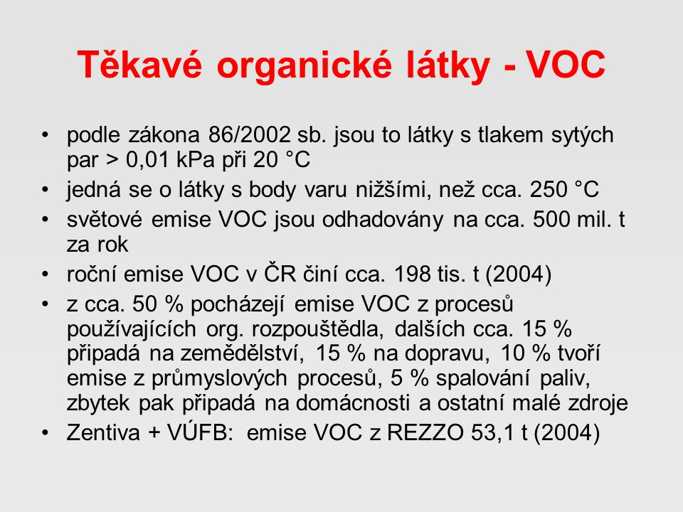 Těkavé organické látky - VOC