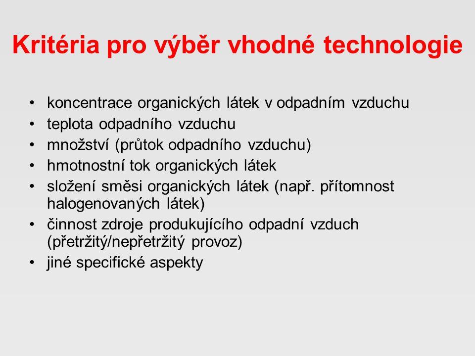 Kritéria pro výběr vhodné technologie