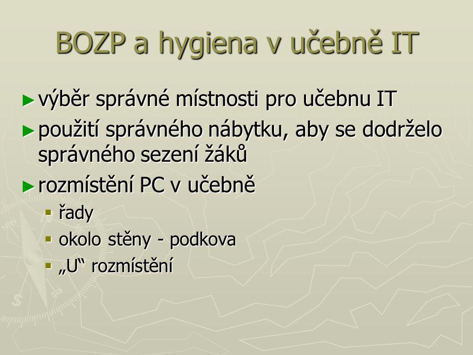 BOZP a hygiena v učebně IT