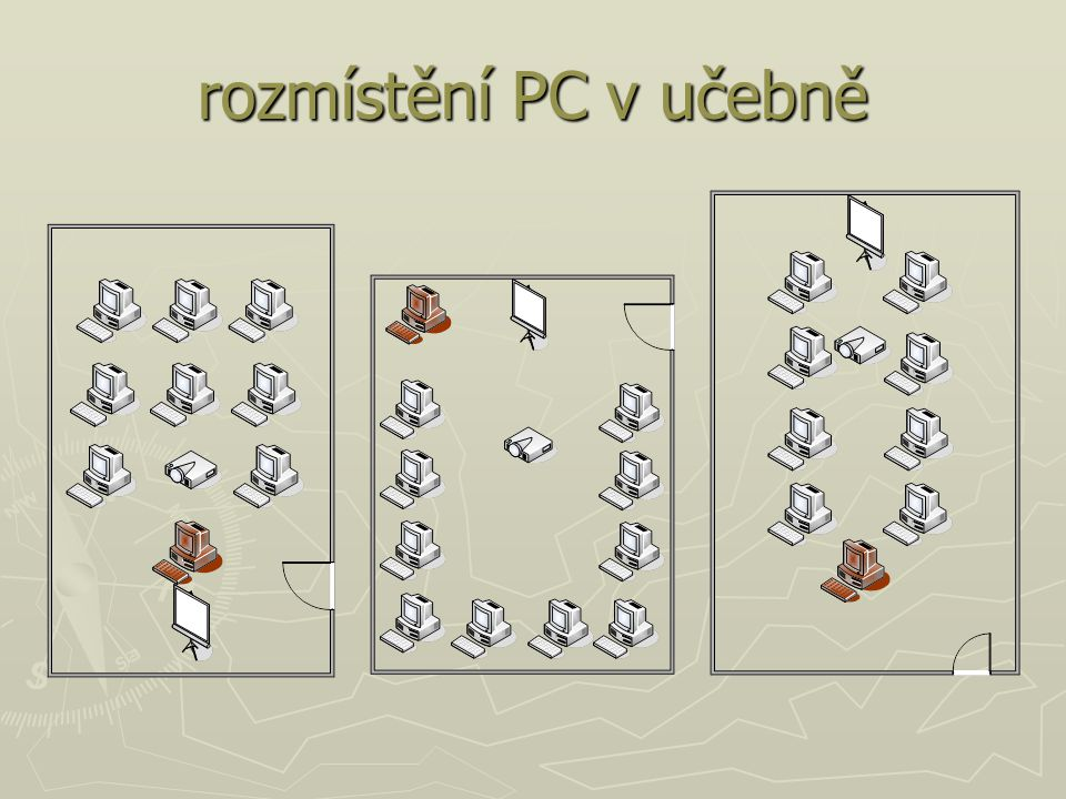 rozmístění PC v učebně nejčastější rozmístění PC v učebnách