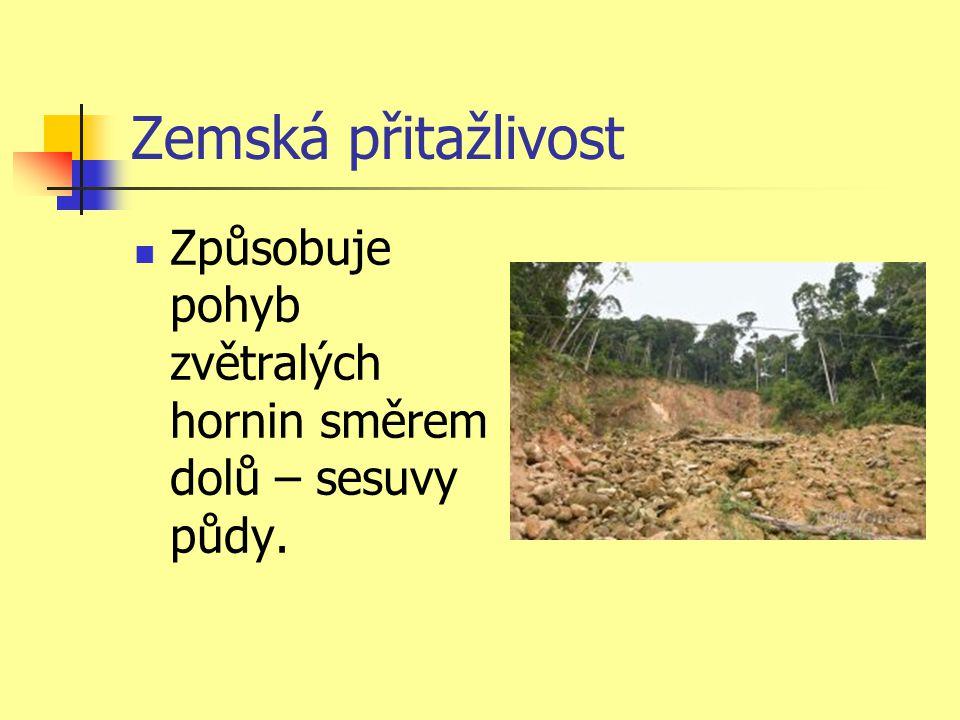 Zemská přitažlivost Způsobuje pohyb zvětralých hornin směrem dolů – sesuvy půdy.
