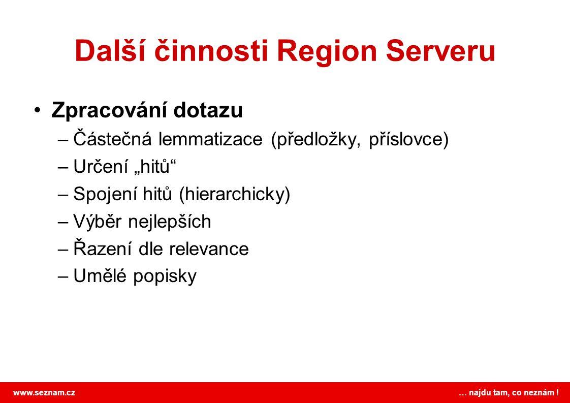Další činnosti Region Serveru