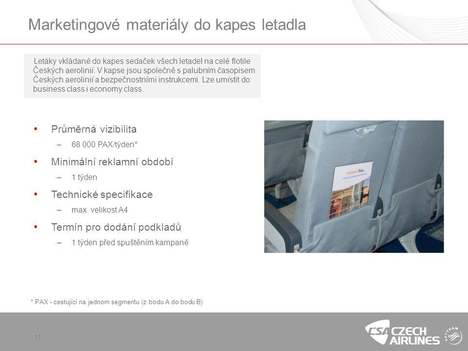 Marketingové materiály do kapes letadla