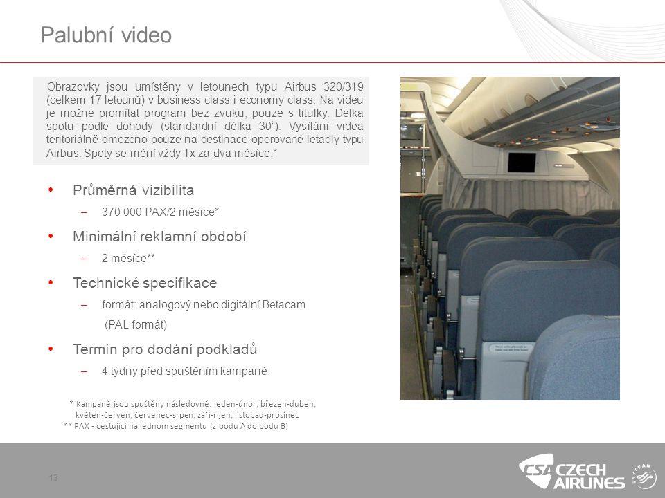 Palubní video Průměrná vizibilita Minimální reklamní období