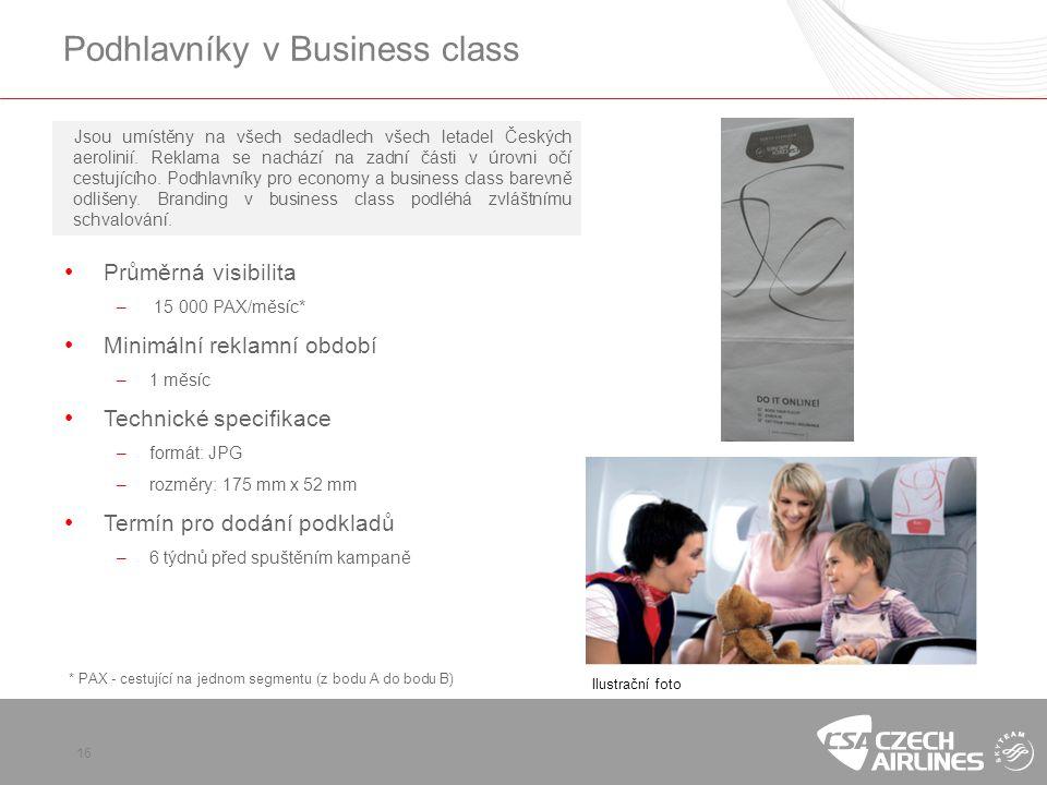 Podhlavníky v Business class