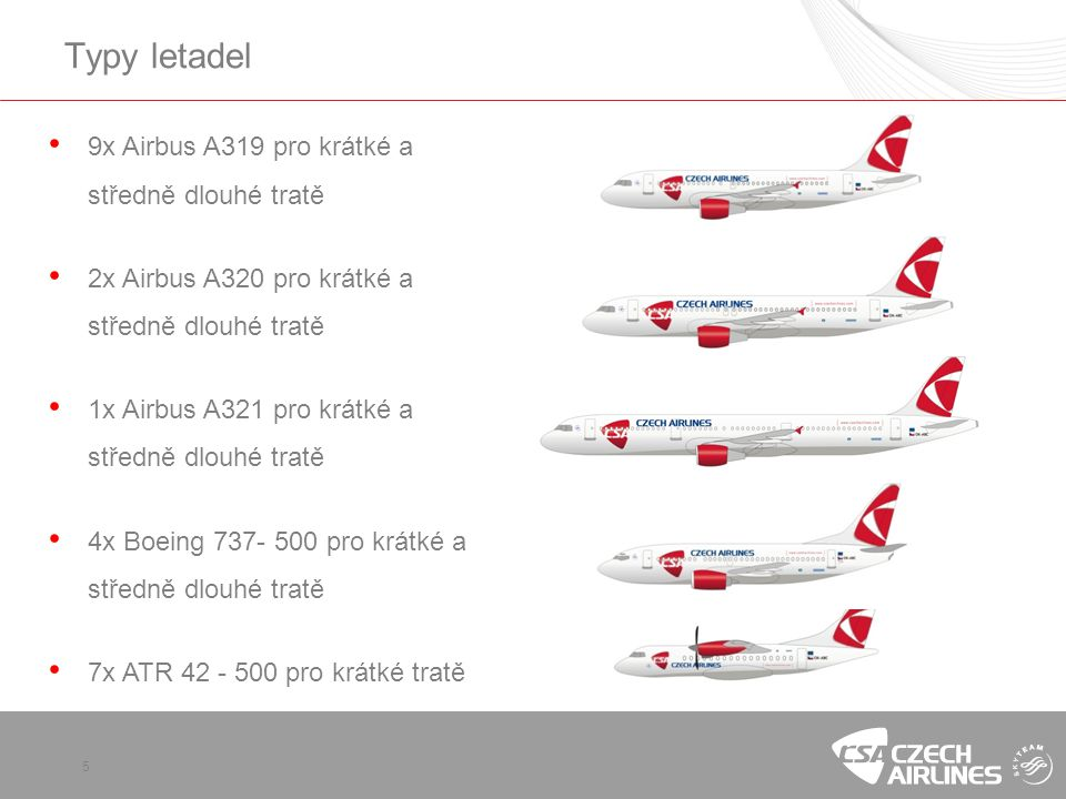 Typy letadel 9x Airbus A319 pro krátké a středně dlouhé tratě