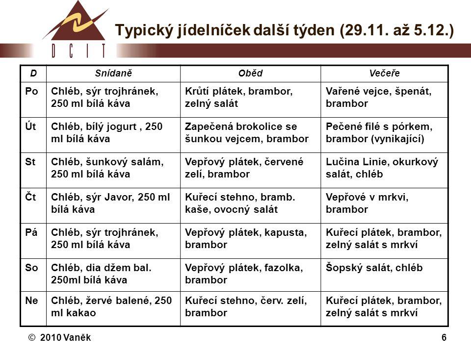 Typický jídelníček další týden (29.11. až 5.12.)