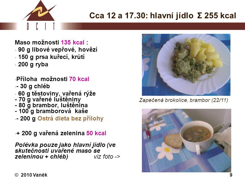 Cca 12 a 17.30: hlavní jídlo Σ 255 kcal